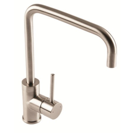1810 Sink Company Cascata Square Spout Single Lever Aerated Mixer Tap Brushed Steel