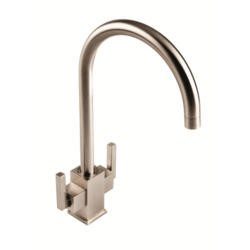 1810 Sink Company RUS/02/BS Ruscello Square Body Twin Slim Lever Aerated Mixer Tap Brushed Steel
