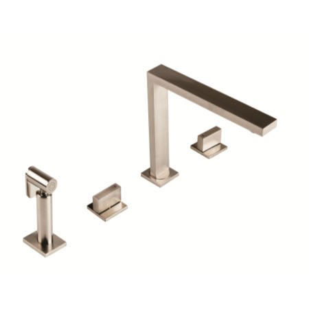 1810 Sink Company NOV/02/BS Novanta Square Twin Dial Aerated Mixer Tap Brushed Steel With Hand Spray