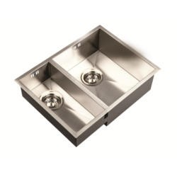 1810 Sink Company ZD/1834/U/S/BBR/024 ZENDUO180/340U 1.5 Bowl Inset Stainless Steel Sink Left Hand Small Bowl