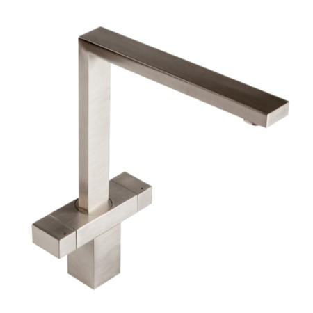 1810 Sink Company VER/02/BS Versare Square Design Twin Dial Aerated Mixer Tap Brushed Steel