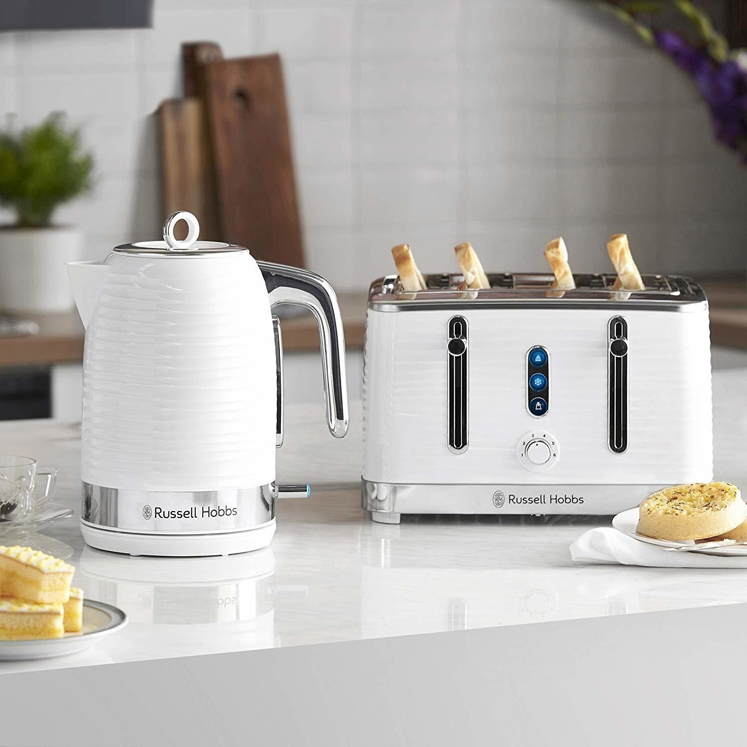 Black 4 Slot Toaster and Microwave Russell Hobbs Inspire Kettle
