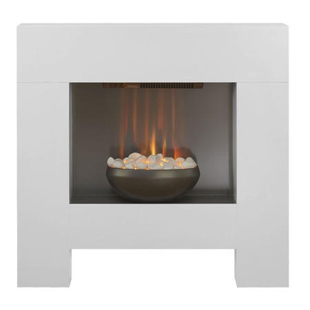 Adam Modern Bowl Electric Fireplace in White Satin