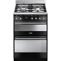 Smeg SUK62MBL8 60cm Wide Double Oven Black Dual Fuel Cooker