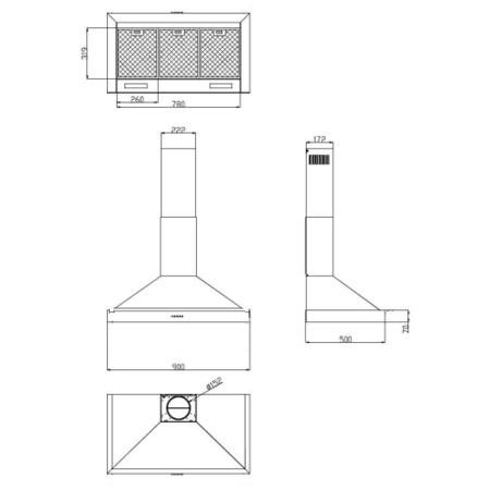Belling CLASSIC 90CHIM 90cm Wide Chimney Cooker Hood Hot Jalapeno