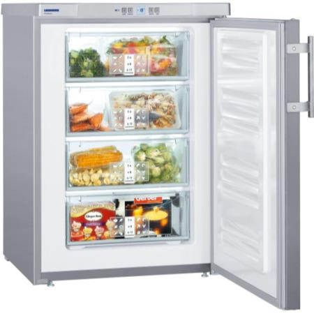GRADE A1 - liebherr GPESF1476 Table Height Freestanding Freezer with Stainless Steel Door