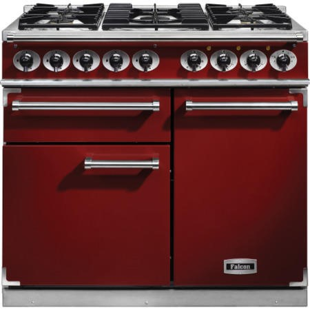 Falcon 98500 1000 Deluxe Dual Fuel Range Cooker - Cherry Red - Gloss Pan Stands