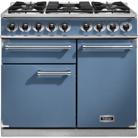Falcon 98480 1000 Deluxe Dual Fuel Range Cooker - China Blue - Gloss Pan Stands