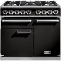 Falcon 98460 1000 Deluxe Dual Fuel Range Cooker - Black And Chrome Trim - Gloss Pan Stands