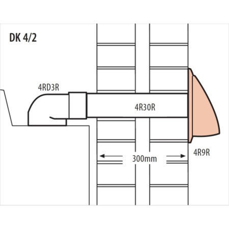 Elica DK4/2 40cm Long Ducting Kit Rear Exit for INT Hoods