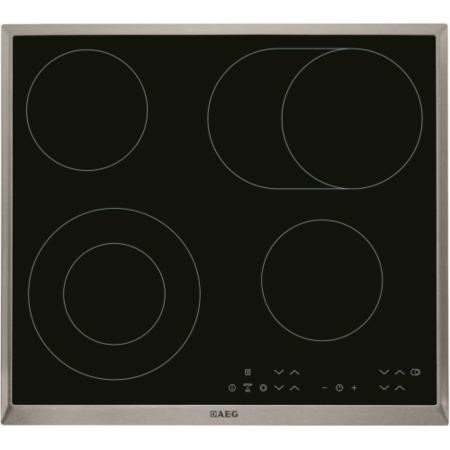 AEG HK634060XB 58cm Touch Control Ceramic Hob With Stainless Steel Trim