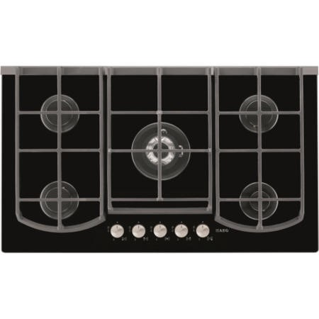 AEG HG995440NB Designer 88cm Five Burner Gas-on-glass Hob in Black Glass