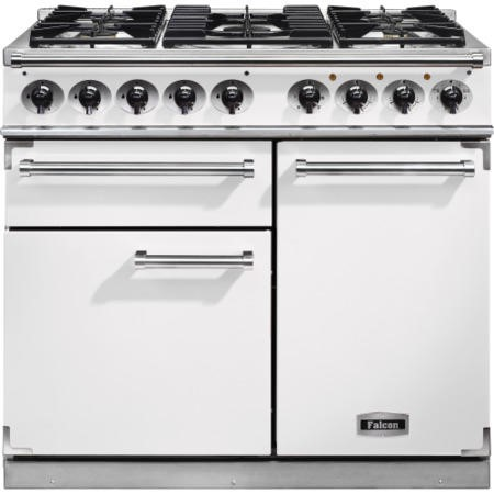 Falcon 98510 1000 Deluxe Dual Fuel Range Cooker - White - Gloss Pan Stands