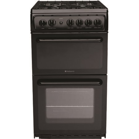Hotpoint HAG51K 50cm Twin Cavity Gas Cooker Black