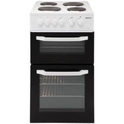 Beko BD531AW 50cm Double Cavity Electric Cooker With Solid Hot Plate - White