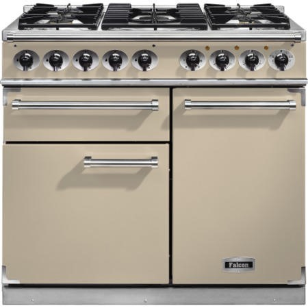Falcon 98470 1000 Deluxe Dual Fuel Range Cooker - Cream - Gloss Pan Stands