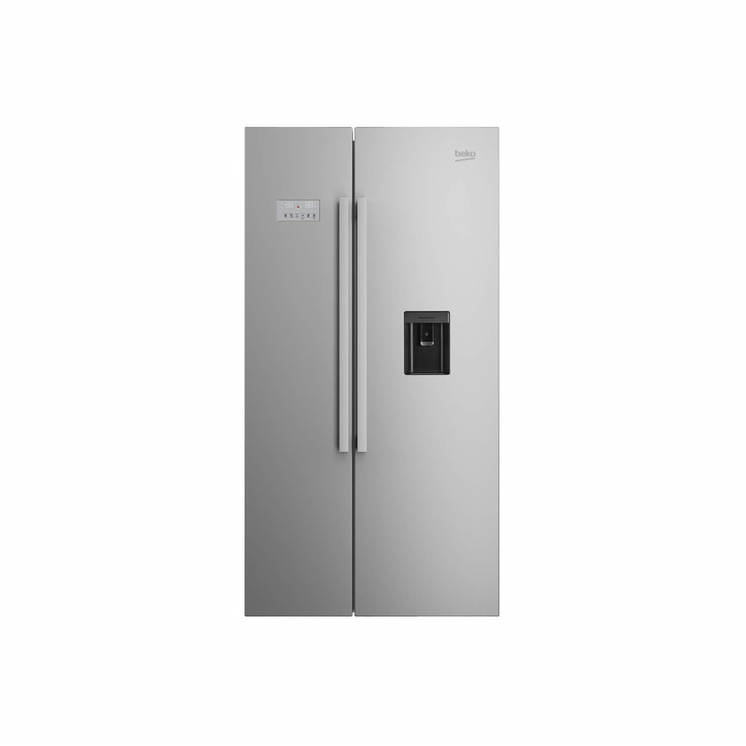 Beko ASD241X Stainless Steel Side By Side Fridge Freezer With Non Plumbed  Water Dispenser