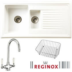 RL301 Reversible 1.5 Bowl White Ceramic Sink & Elbe Chrome With White Levers Tap Pack