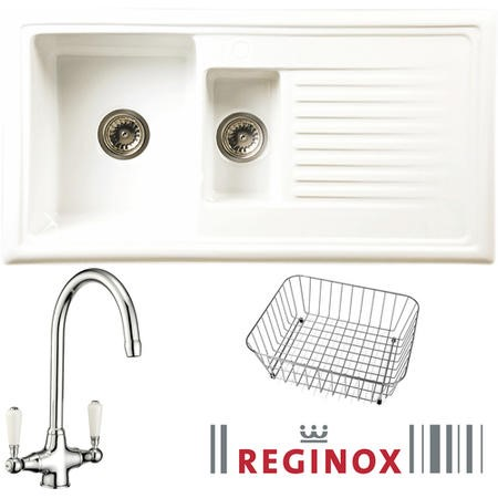 Reginox RL301CW/CWB15/ELBE RL301 Reversible 1.5 Bowl White Ceramic Sink & Elbe Chrome With White Levers Tap Pack