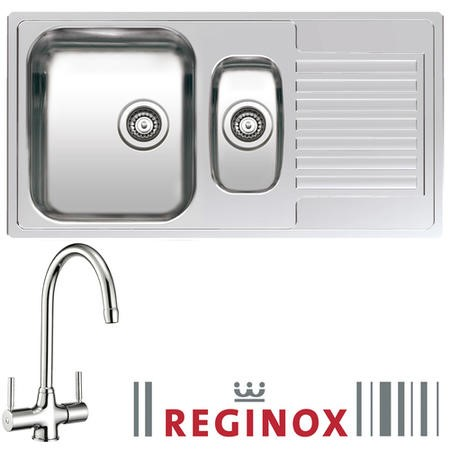 Reginox Centurio R15 Reversible 1.5 Bowl Stainless Steel Sink & Genesis Chrome Tap Pack