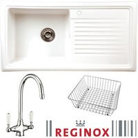 RL304 Reversible 1 Bowl White Ceramic Sink & Elbe Chrome With White Levers Tap Pack