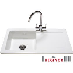 Reginox RL504 Reversible 1 Bowl White Ceramic Sink & Genesis Chrome With White Levers Tap Pack