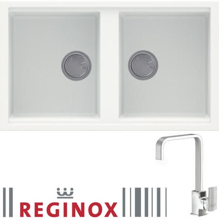 Reginox BEST450 2 Bowl White Regi-Granite Composite Sink & Astoria Chrome Tap Pack
