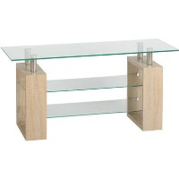 Milan TV Unit in Oak Effect with Glass Shelves - TV's up to 48
