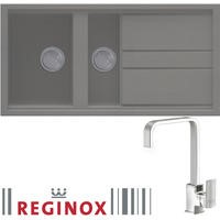 Reginox BEST475TT/ASTORIA BEST475 Reversible 1.5 Bowl Titanium Regi-Granite Composite Sink & Astoria Chrome Tap Pack