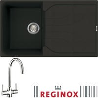 Reginox EGO400 Reversible 1 Bowl Black Regi-Granite Composite Sink & Thames Chrome Tap Pack