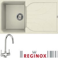 Reginox EGO400C/THAMES EGO400 Reversible 1 Bowl Cream Regi-Granite Composite Sink & Thames Chrome Tap Pack