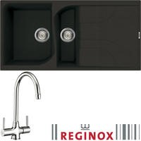 Reginox EGO475B/THAMES EGO475 Reversible 1.5 Bowl Black Regi-Granite Composite Sink & Thames Chrome Tap Pack