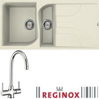 Reginox EGO475 Reversible 1.5 Bowl Black Regi-Granite Composite Sink & Thames Chrome Tap Pack