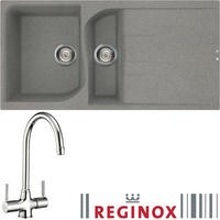 Reginox EGO475 Reversible 1.5 Bowl Titanium Grey Regi-Granite Composite Sink & Thames Chrome Tap Pack
