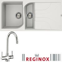 Reginox EGO475W/THAMES EGO475 Reversible 1.5 Bowl White Regi-Granite Composite Sink & Thames Chrome Tap Pack