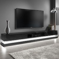 Extra Large Black Gloss TV Stand with LEDs- TV's up to 80