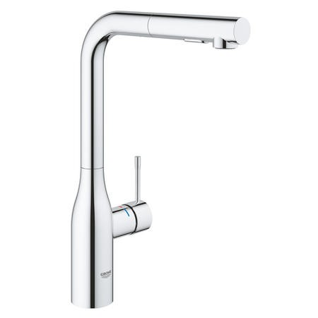 Grohe Chrome Single Lever Pull Out Spray Mixer Kitchen Tap - Essence