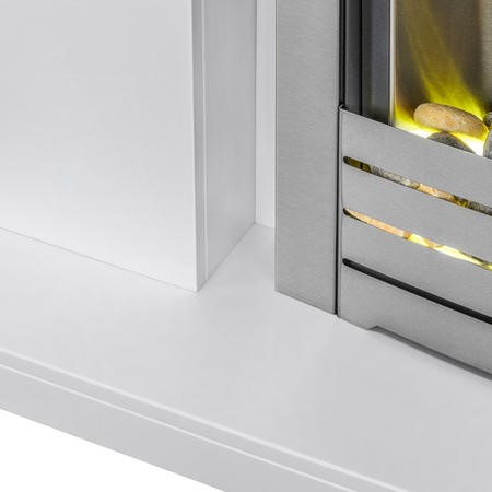 Adam Lomond Pure White Surround with Helios Electric Fire in Brushed Steel