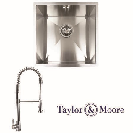 Taylor & Moore Norman Inset 1 Bowl Stainless Steel Sink & Royal Stainless Tap Pack