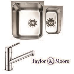 Taylor & Moore Superior Undermount 1.5 Bowl Stainless Steel Sink & Bowness Chrome Tap Pack