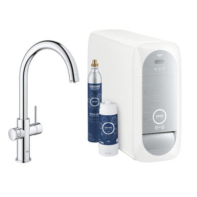 Grohe Chrome Blue C-Spout Single Lever Home Duo Starter Kitchen Tap Kit