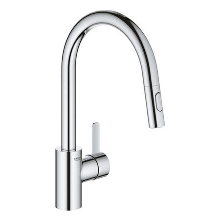 Grohe Chrome High Spout Single Lever Pull Out Spray Mixer Kitchen Tap - Eurosmart