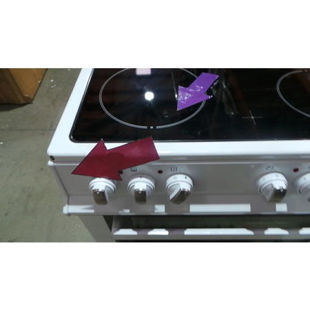 GRADE A3 - ElectriQ 60cm Double Oven Electric Cooker With Ceramic Hob - White
