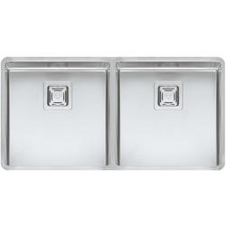 Reginox TEXAS40X40+40X40 2.0 Bowl Integrated Stainless Steel Sink With Square Basket Strainer