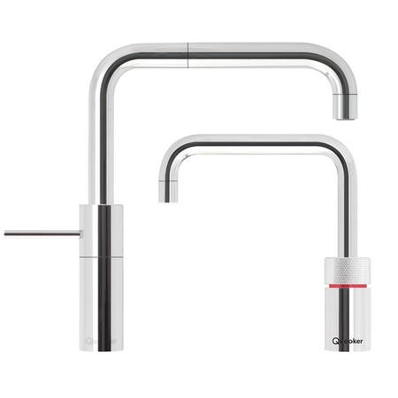Quooker Chrome Square Single Lever Boiling Water & Mixer Twin Kitchen Taps - Nordic