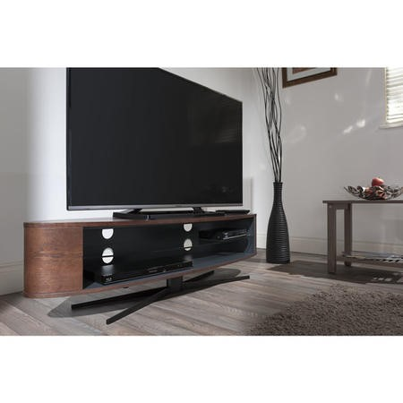 Techlink Ellipse EL140DOSG Dark Oak & Satin Grey slim profile with two wide shelves to accommodate soundbars 1400mm wide suitable for screens upto 70""