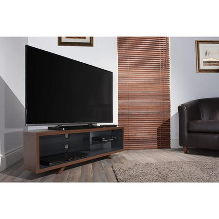 Techlink Dual Corner DL115DOSG Dark Oak on the outside of the carcass and Satin Grey on the inside a central glass shelf cable management 1150mm wide suitable for screens up to 55""