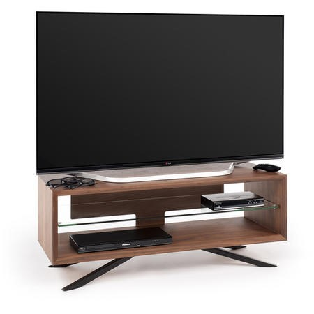 Techlink Arena AA110W Walnut carcass with Black pedestal base clear glass shelf cable management 1100mm wide suitable for screens up to 55""