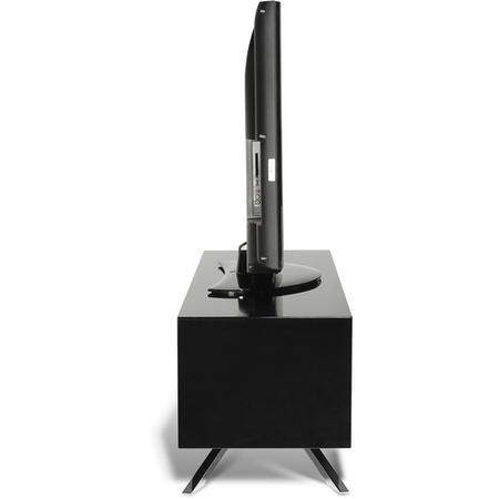 Techlink Arena AA110B Black Carcass with Chrome pedestal base clear glass shelf cable management 1100mm wide suitable for screens up to 55""