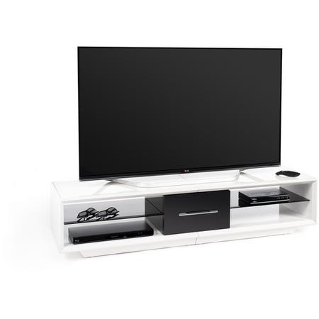 Techlink Arena AA150WTB White carcass with Black draw front and plinth clear glass shelves either side 1500mm wide suitable for screens up to 75""